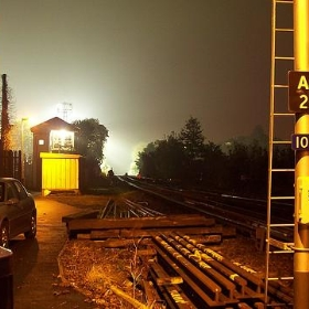 Railway lit by Rec floodlights - Secret Pilgrim