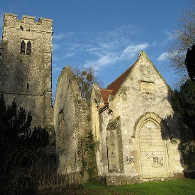 Derelict church, Eastwell, near Ashford, Kent, England UK - jwfairley