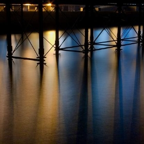 Seafront Lights Reflected Beneath Brighton Pier Structural Supports (Long Exposure) - Dominic's pics