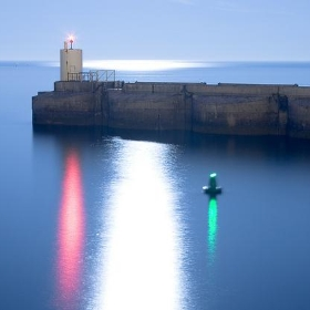 Brighton Marina Harbour Entrance Lights and Reflected Moonlight Glint - Dominic's pics