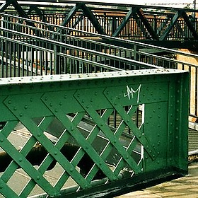 Green footbridge over the New Cut, Bristol - crabchick