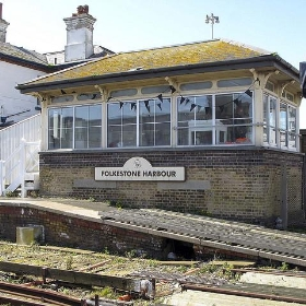 Folkestone Harbour Signal Box with Black Bunting - Smudge 9000