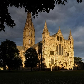 salisbury cathedral west front and tower, sunset - seier+seier