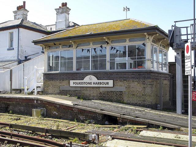 Folkestone Harbour Signal Box with Black Bunting