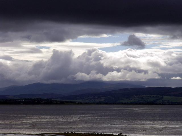 Dark clouds over western end of Beauly Firth Inverness Scotland