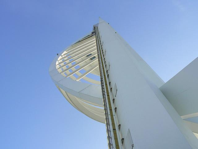 Millenium spinnaker tower portsmouth hampshire hants uk looking up from the side