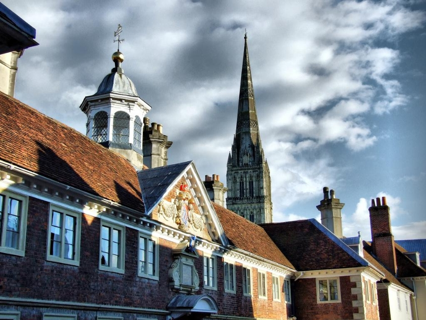 Salisbury Cathedral school and spire