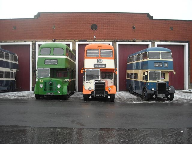 Three buses from a bygone era