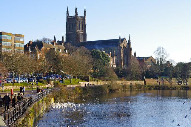 Worcester Cathedral and the River Severn